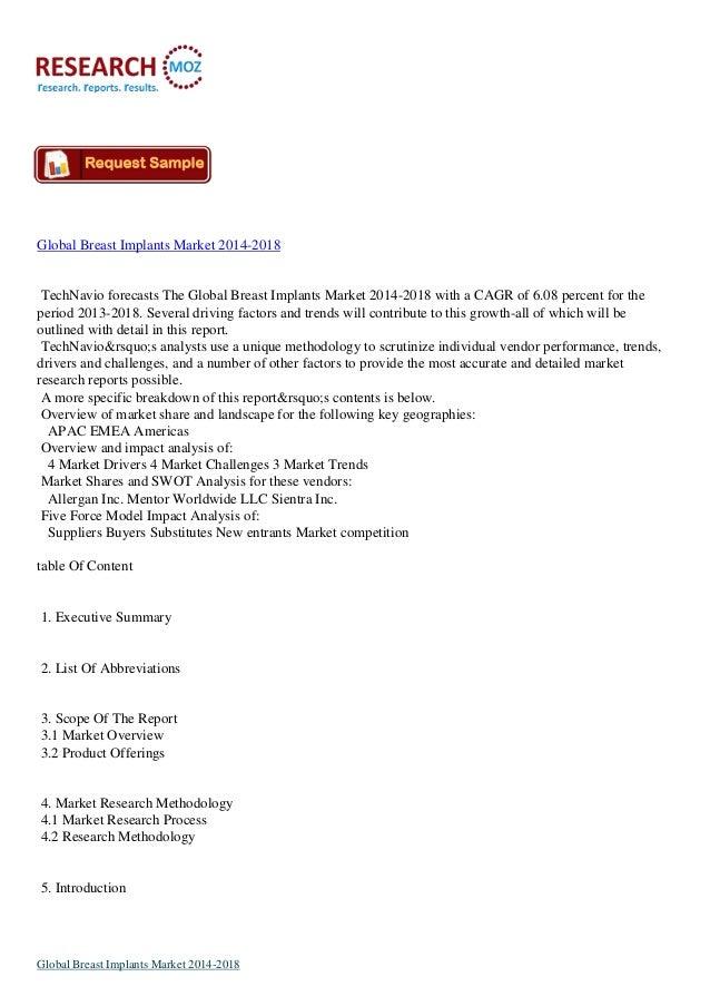 Global Breast Implants Market 2014-2018  TechNavio forecasts The Global Breast Implants Market 2014-2018 with a CAGR of 6....