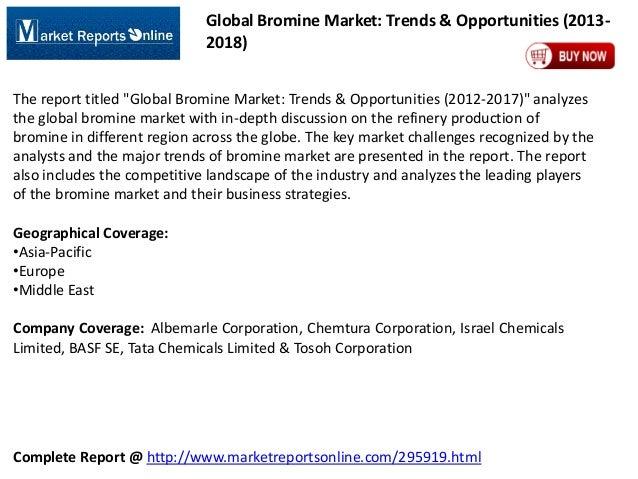 "Global Bromine Market: Trends & Opportunities (20132018) The report titled ""Global Bromine Market: Trends & Opportunities ..."