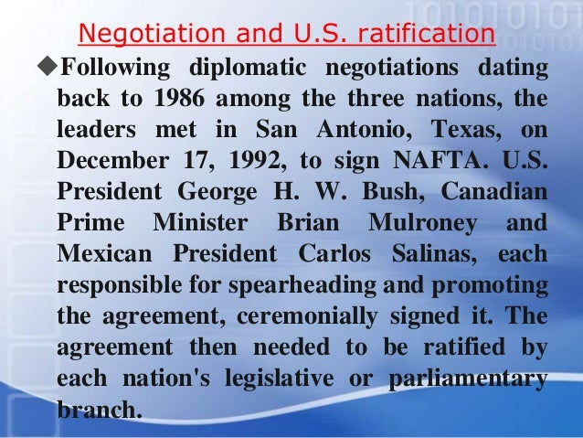 a overview of north american free trade agreement between the governments of canada mexico and the u North american free trade agreement, the 24-year-old deal that liberalized trade between the united states, canada and mexico governments but the.