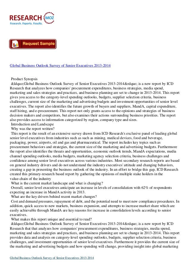 "Global Business Outlook Survey of Senior Executives 2013-2014 Product Synopsis ""Global Business Outlook Survey of Se..."
