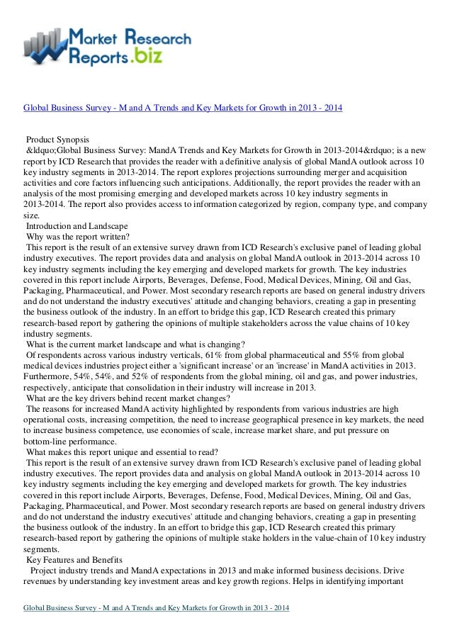 """Global Business Survey - M and A Trends and Key Markets for Growth in 2013 - 2014Product Synopsis""""Global Business Su..."""