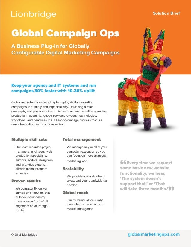 Solution Briefglobalmarketingops.comGlobal Campaign OpsA Business Plug-in for GloballyConfigurable Digital Marketing Campa...
