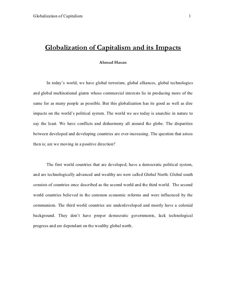 Globalization of Capitalism                                                          1           Globalization of Capitali...