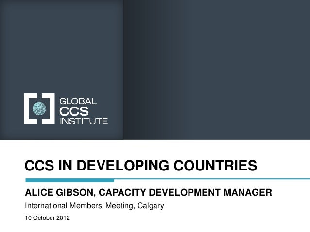 Global CCS Institute - Day 1 - Panel 2 - CCS in Developing Countries Slide 2