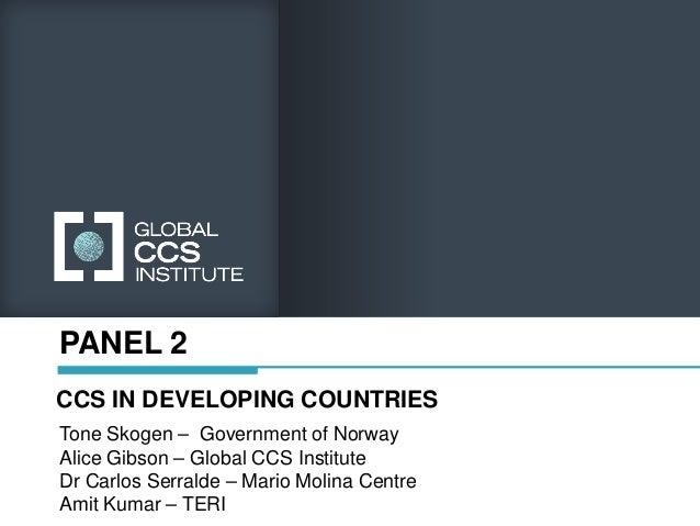 PANEL 2CCS IN DEVELOPING COUNTRIESTone Skogen – Government of NorwayAlice Gibson – Global CCS InstituteDr Carlos Serralde ...