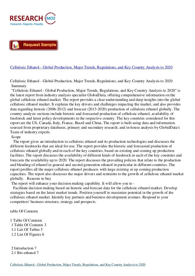 Cellulosic Ethanol - Global Production, Major Trends, Regulations, and Key Country Analysis to 2020Cellulosic Ethanol - Gl...
