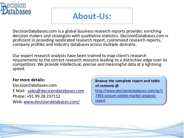 Cesium Iodide Market Report 2017 : 2022 - Global Industry Analysis