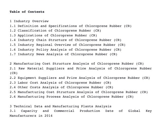 Chloroprene Rubber Cr Industry Latest Market Research