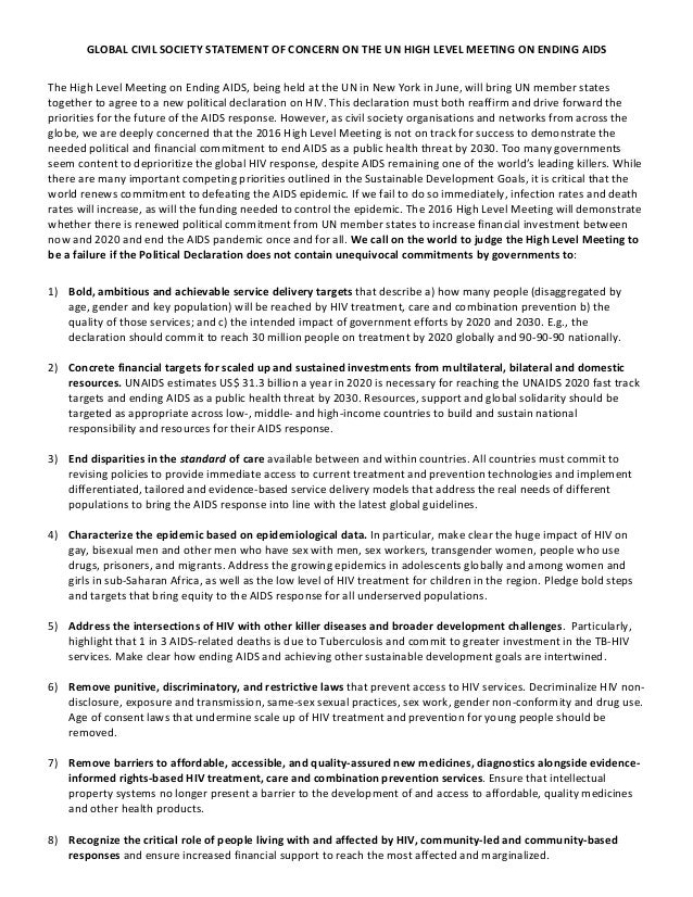 GLOBAL  CIVIL  SOCIETY  STATEMENT  OF  CONCERN  ON  THE  UN  HIGH  LEVEL  MEETING  ON  ENDING  ...