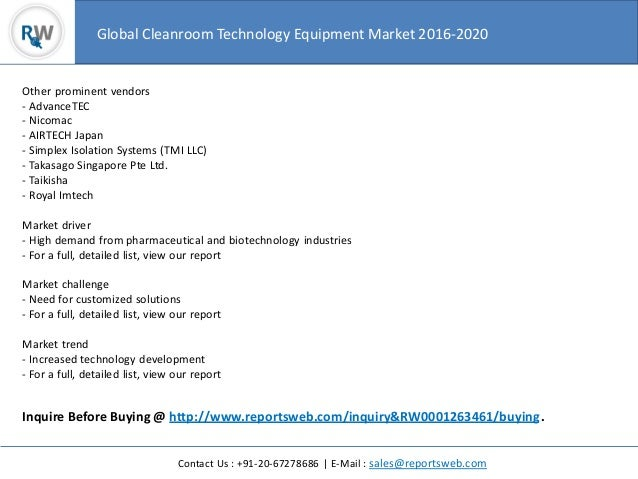 Global cleanroom technology equipment market 2016 2020