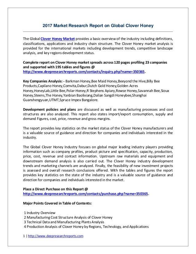 Global Clover Honey Industry 2012-2022 World Wide Key