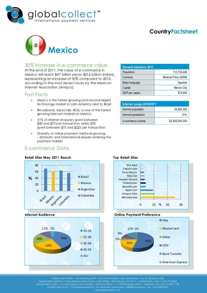 Mexico30% increase in e-commerce value                                    General statistics 2011At the end of 2011, the v...