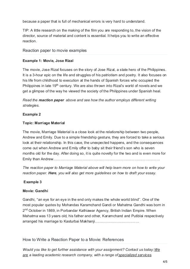 reaction paper about movie example