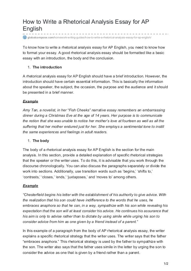 How To Write A Rhetorical Analysis Essay For AP English  Globalcompose.com/homework  ...