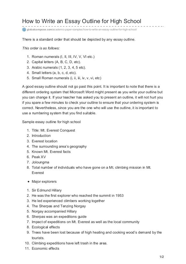 how to write an essay outline high school