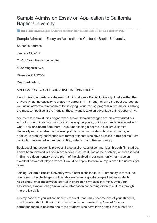 Essay on admission