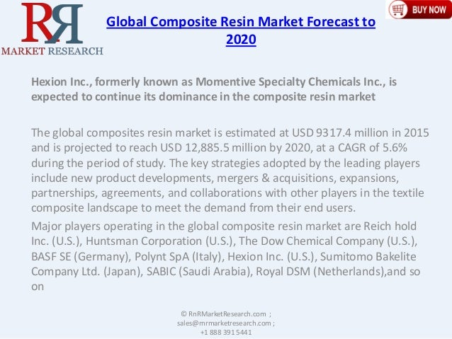 Global Composite Resin Market Forecast to 2020 Hexion Inc., formerly known as Momentive Specialty Chemicals Inc., is expec...