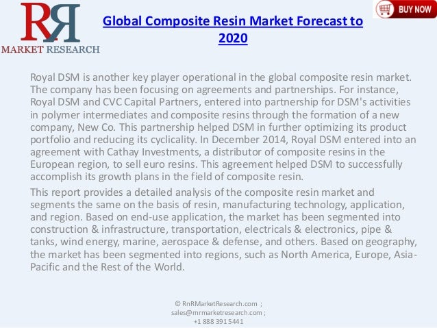 Global Composite Resin Market Forecast to 2020 Royal DSM is another key player operational in the global composite resin m...