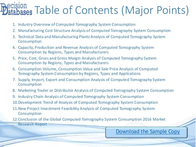 Table of Contents (Major Points) 1. Industry Overview of Computed Tomography System Consumption 2. Manufacturing Cost Stru...