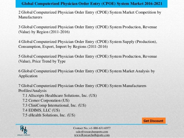 Global computerized physician order entry (cpoe) system market resear…