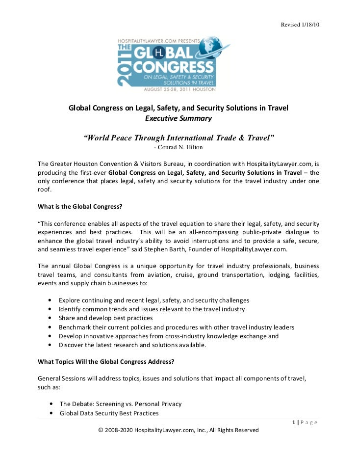 Revised 1/18/10           Global Congress on Legal, Safety, and Security Solutions in Travel                              ...