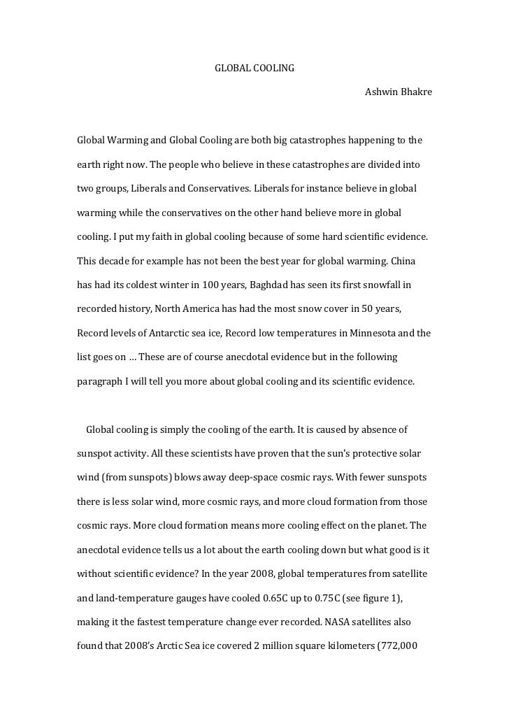GLOBAL COOLING<br />Ashwin Bhakre<br />    Global Warming and Global Cooling are both big catastrophes happening to the ea...