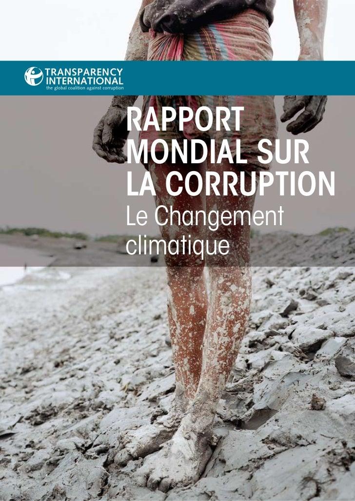 RappoRtMondial suRla CoRRuptionLe Changementclimatique