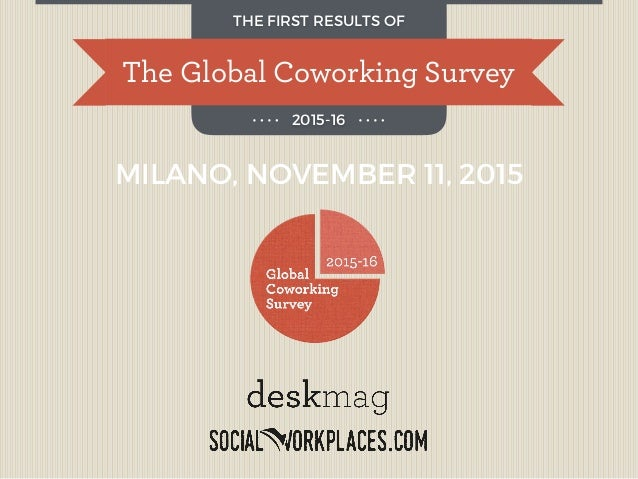 The Global Coworking Survey THE FIRST RESULTS OF 2015-16 MILANO, NOVEMBER 11, 2015