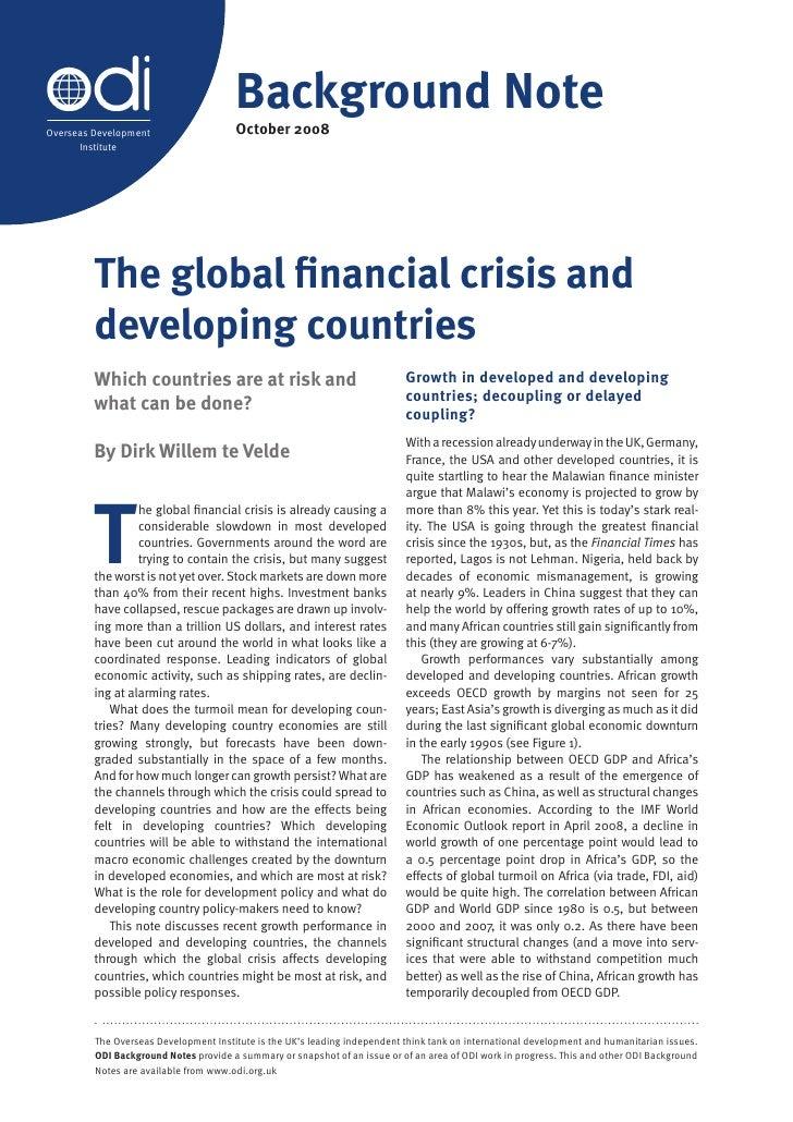Background Note                                        October 2008 Overseas Development       Institute              The ...