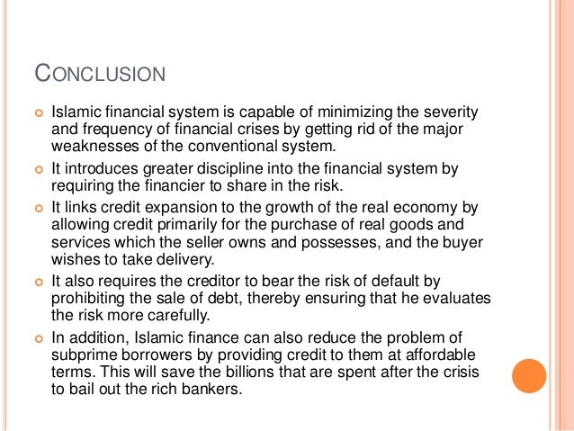 islamic banking conclusion Islamic economic studies, vol 14, no 1 & 2 54 islamic bank in malaysia would  be a viable project from the operation and profits point of views the conclusion.