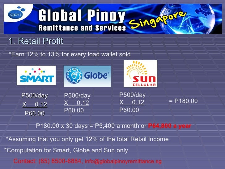 1. Retail Profit *Earn 12% to 13% for every load wallet sold     P500/day        P500/day            P500/day             ...
