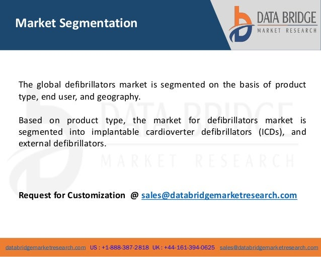 global defibrillator market External defibrillators market by product type [manual external defibrillator, automated external defibrillator (aed), and wearable cardioverter defibrillator (wcd)] and geography (north america, europe, asia-pacific, and lamea) - global opportunity analysis and industry forecast, 2016-2023.