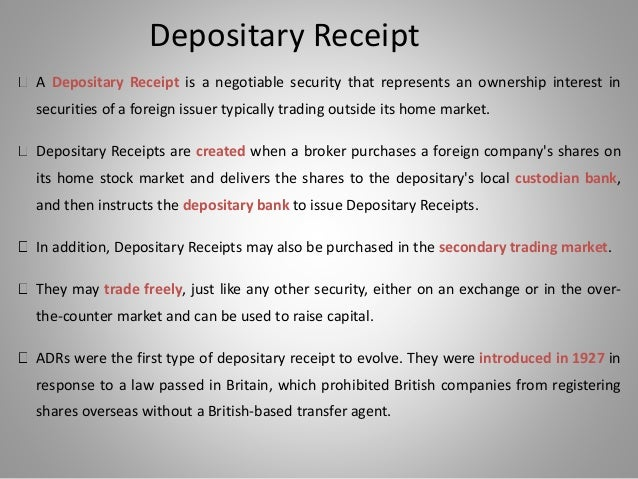 global depository receipts mechanism