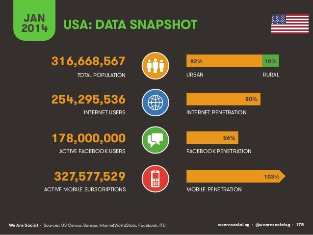 JAN 2014  USA: DATA SNAPSHOT 316,668,567  82%  18%  TOTAL POPULATION  URBAN  RURAL  254,295,536 INTERNET USERS  178,000,00...