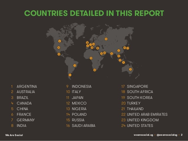 COUNTRIES DETAILED IN THIS REPORT 15!  4!  23! 6!  24!  7! 14! 10!  20! 16! 22!  12! 13!  19! 11!  5! 8!  21! 17!  9!  3! ...