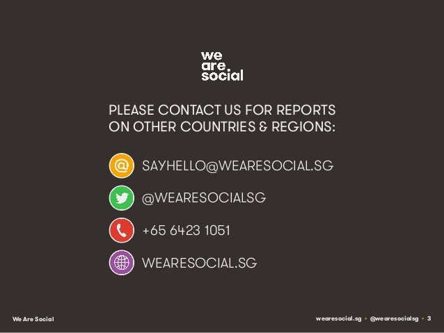 PLEASE CONTACT US FOR REPORTS ON OTHER COUNTRIES & REGIONS: SAYHELLO@WEARESOCIAL.SG @WEARESOCIALSG +65 6423 1051 WEARESOCI...