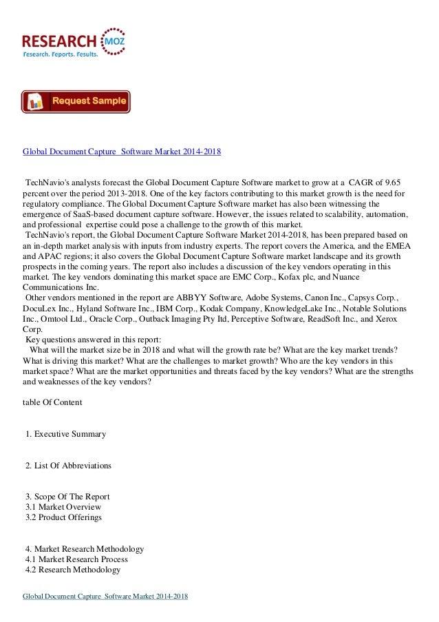 Global Document Capture Software Market 2014-2018  TechNavio's analysts forecast the Global Document Capture Software mark...