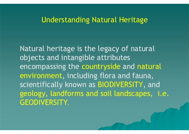 Understanding Natural Heritage  Natural heritage is the legacy of natural objects and intangible attributes encompassing t...