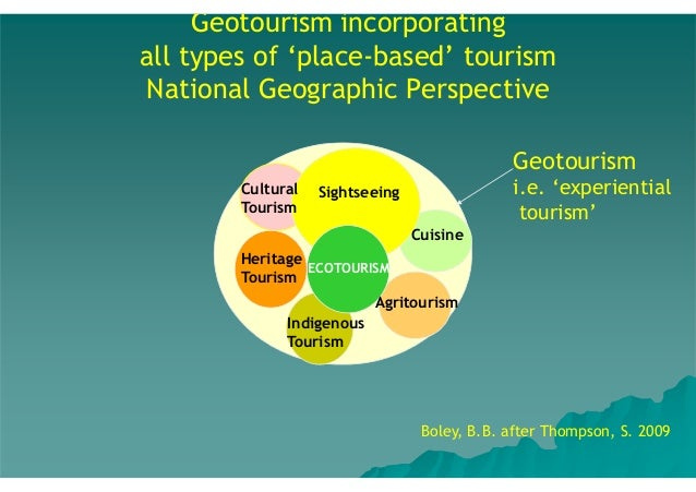 Geotourism incorporating all types of 'place-based' tourism National Geographic Perspective Geotourism Cultural Tourism  i...