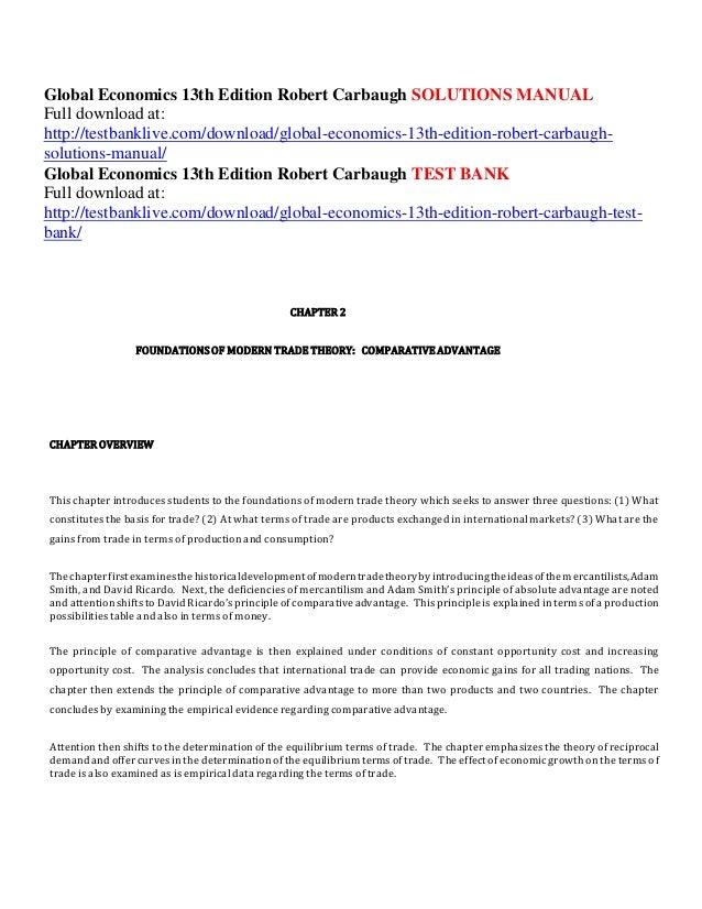global economics 13th edition robert carbaugh solutions manual rh slideshare net Mennonite Carbaugh Carbaugh Concrete