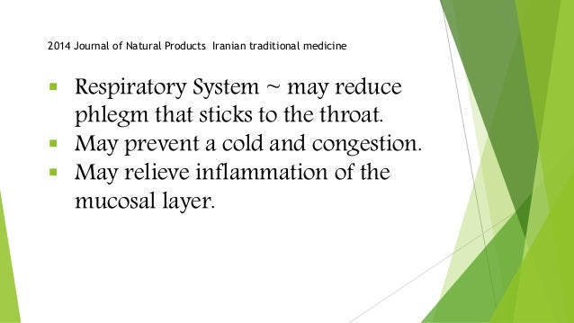  Respiratory System ~ may reduce phlegm that sticks to the throat.  May prevent a cold and congestion.  May relieve inf...
