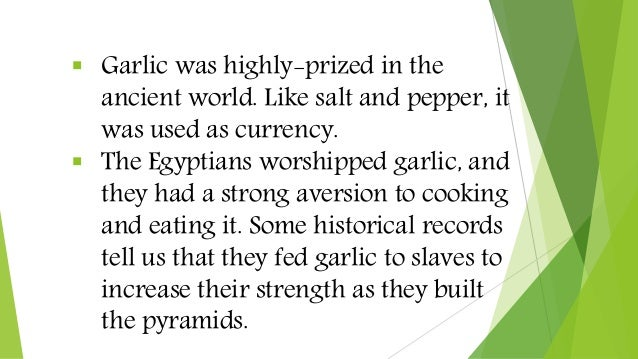  Garlic was highly-prized in the ancient world. Like salt and pepper, it was used as currency.  The Egyptians worshipped...