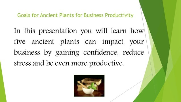 Goals for Ancient Plants for Business Productivity In this presentation you will learn how five ancient plants can impact ...