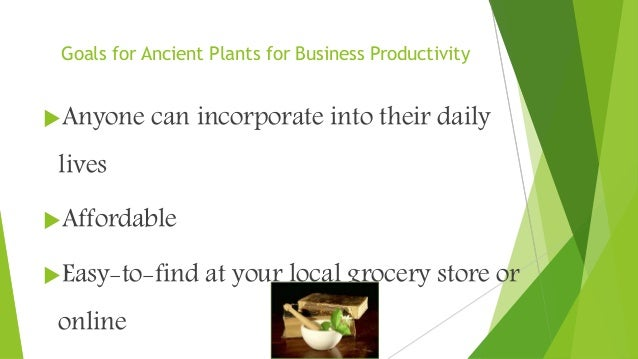 Goals for Ancient Plants for Business Productivity Anyone can incorporate into their daily lives Affordable Easy-to-fin...