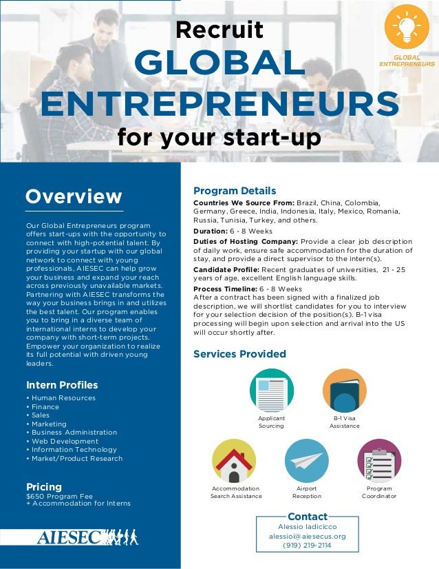 Global Entrepreneur One Pager