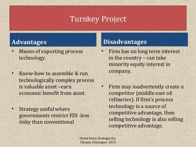 advantages and disadvantages of turnkey projects pdf