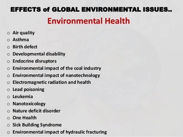 seven environmental issues that affect global health Helpful, trusted answers from doctors: dr coleman on environmental issues that affect global health: how disease is viewed depends on time, society and context usually, higher socio-economic status correlates with better access to healthcare for example, diabetes in poor areas might be.