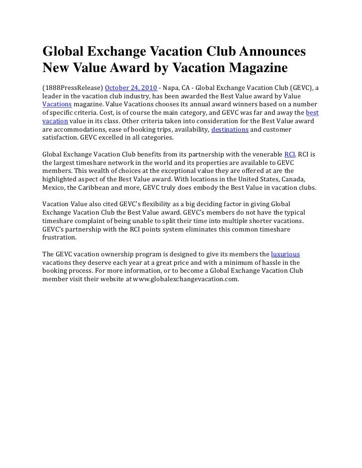 Global Exchange Vacation Club AnnouncesNew Value Award by Vacation Magazine(1888PressRelease) October 24, 2010 - Napa, CA ...