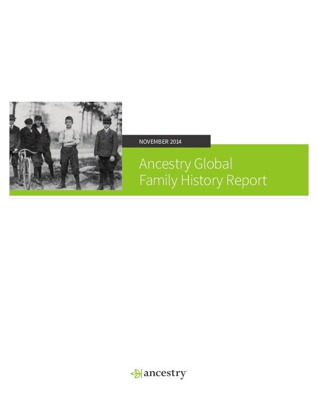 NOVEMBER 2014  Ancestry Global  Family History Report