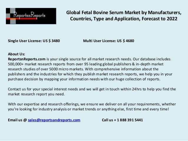 Global fetal bovine serum market by manufacturers, countries
